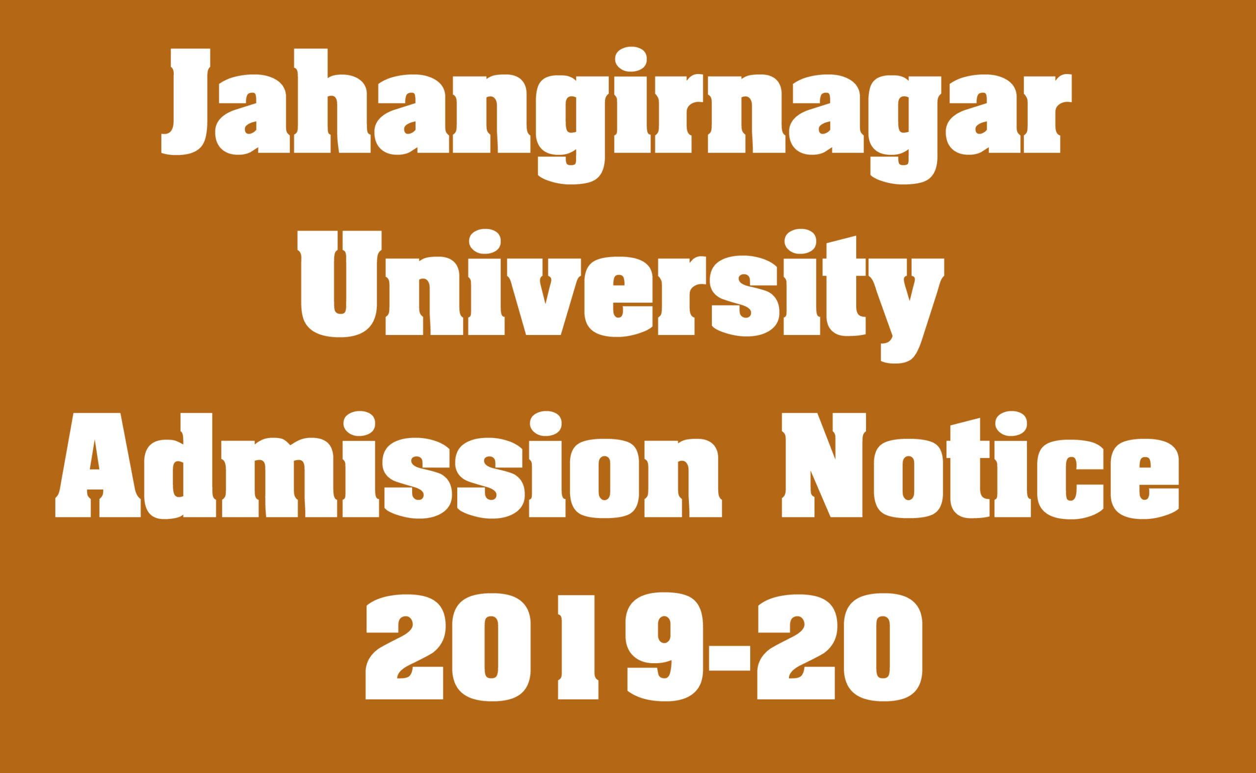 Jahangirnagar University Admission Notice 2019-20